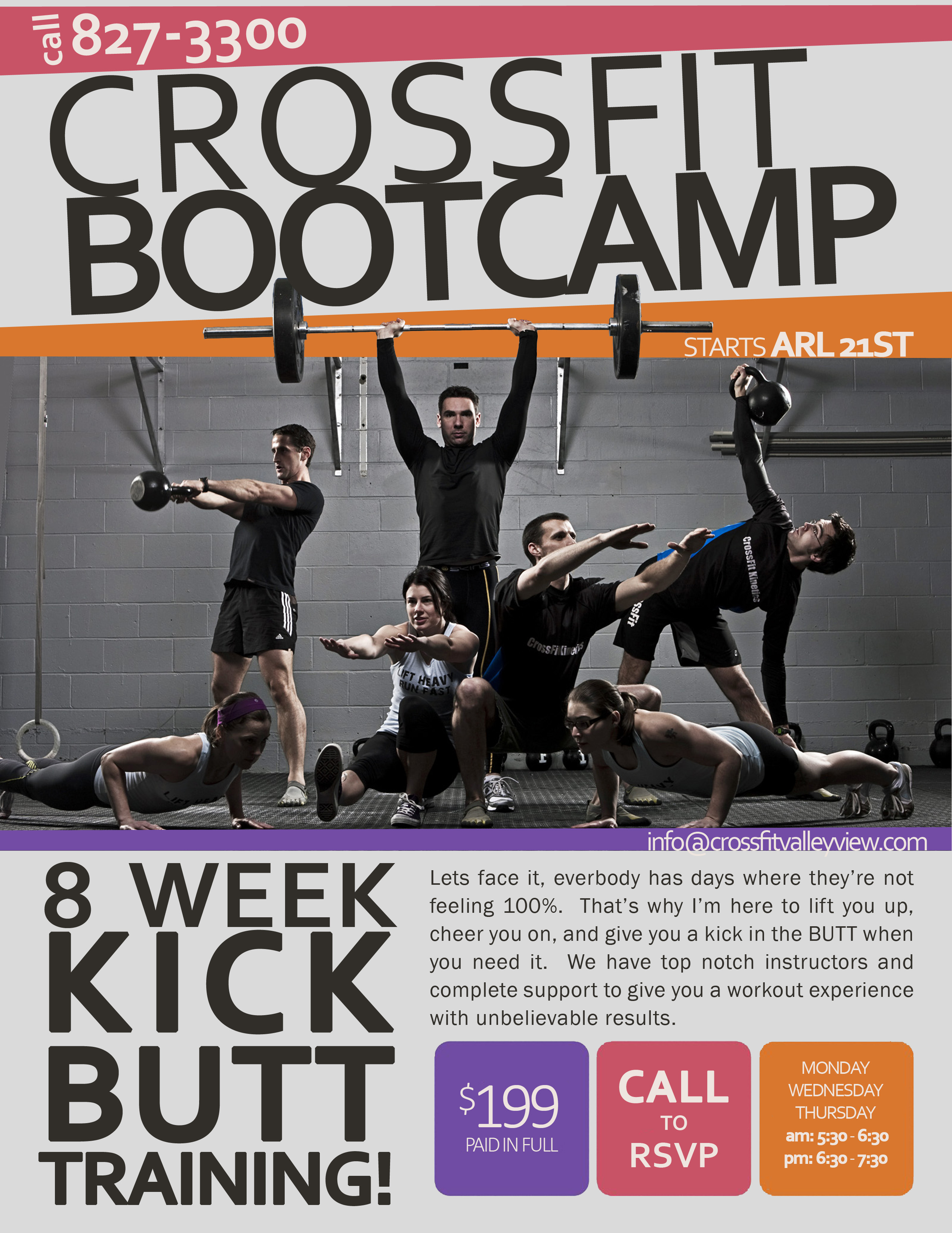 Thursday CrossFit ValleyView - Boot camp flyer template
